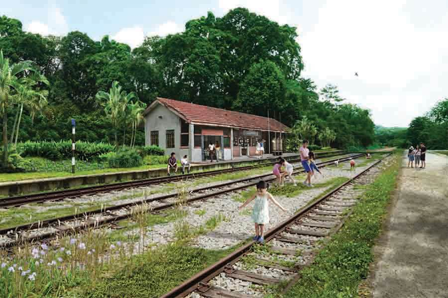 families and kids having fun along a conserved railway track